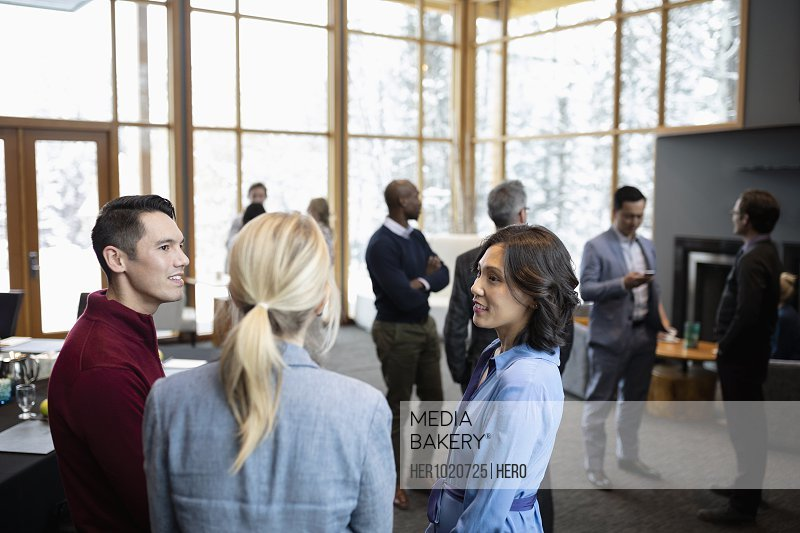 Business people talking, networking at conference