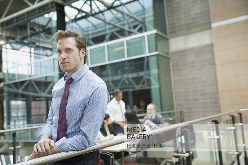 Pensive businessman outside meeting