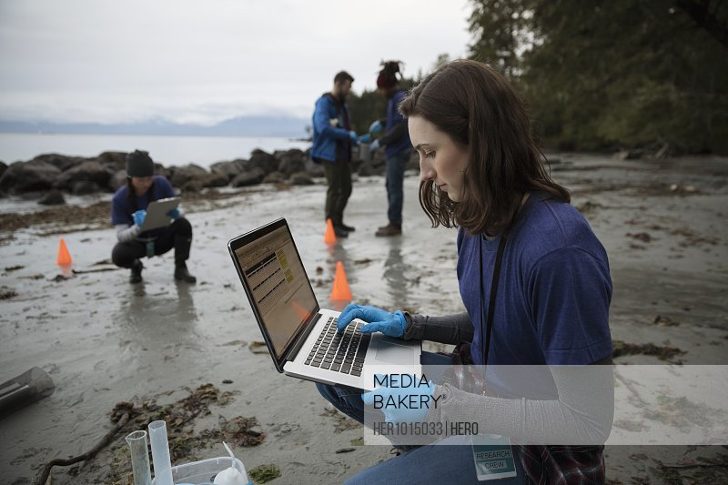 Eco-friendly female scientist with laptop on beach