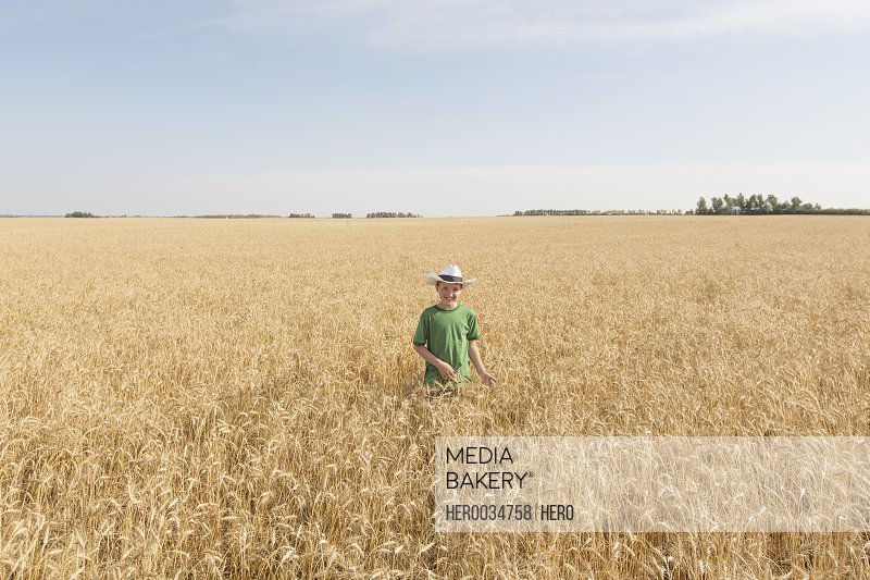 Young boy standing in wheat field.