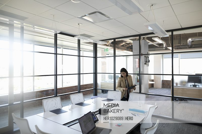 Businesswoman preparing for meeting in office