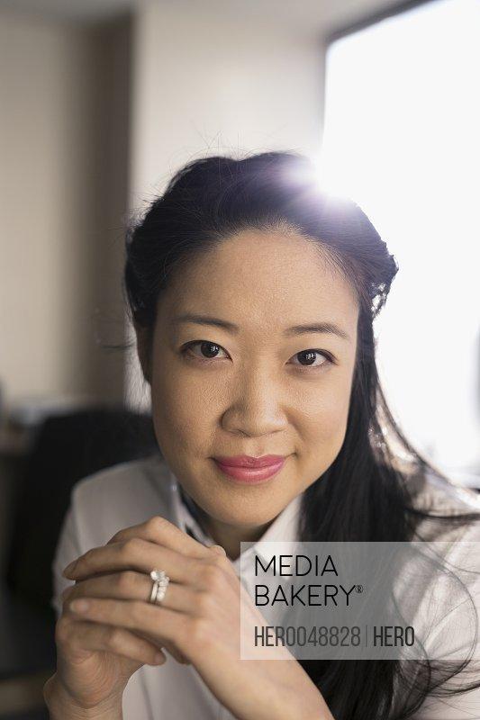 Close up portrait smiling businesswoman