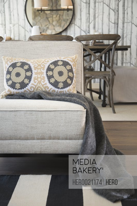 Blanket and patterned pillow on living room chair
