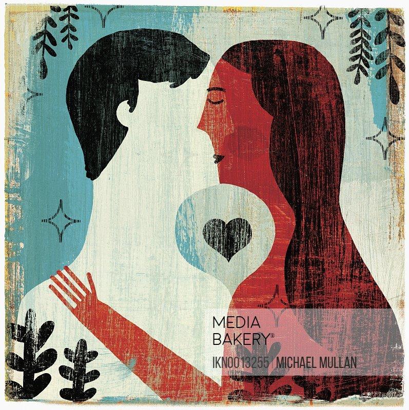 Heart shape between couple kissing