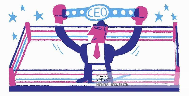 Happy businessman holding aloft CEO championship belt