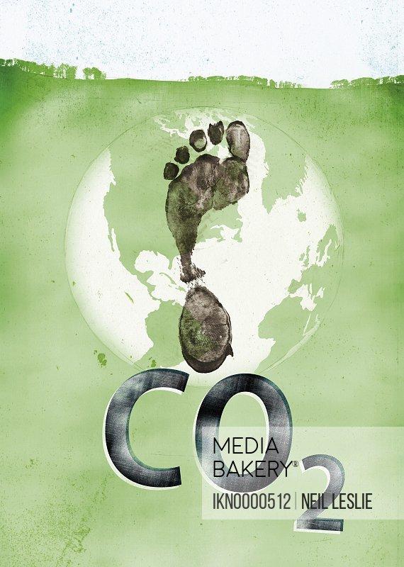 Carbon footprint on globe