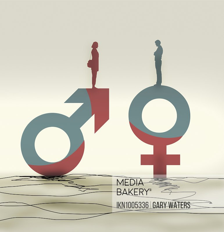 Woman standing on male symbol facing man on female symbol