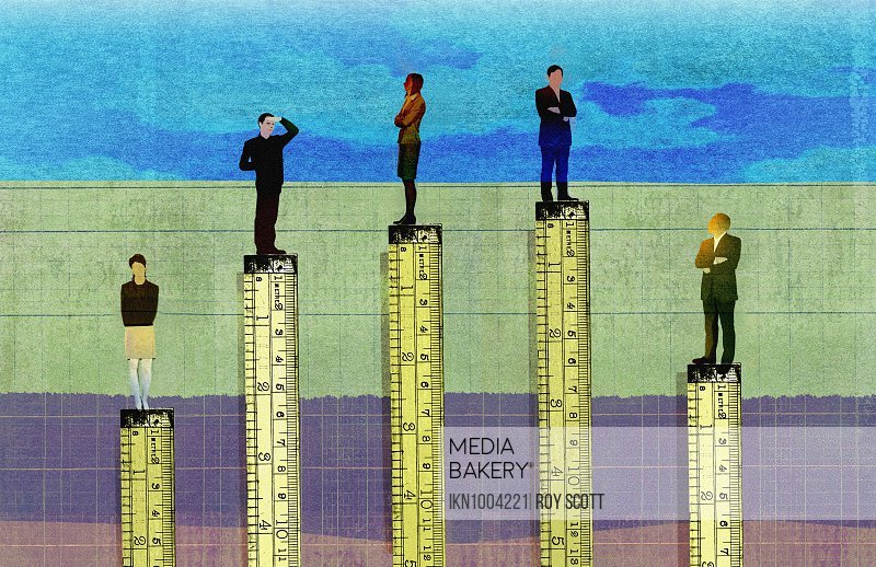 Rulers measuring height in corporate hierarchy