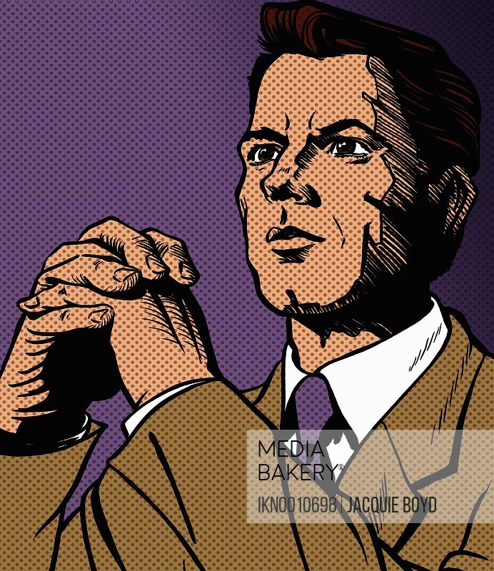 Serious businessman contemplating with hands clasped