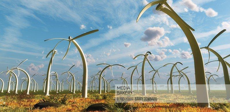 Drooping stationary wind turbines on wind farm