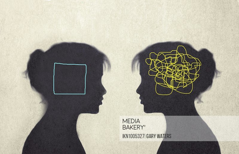 Contrast between woman with tangled line inside of head and woman with empty square inside head