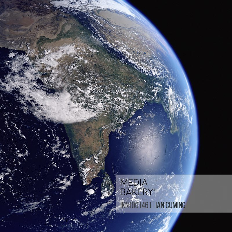 Earth from space showing India