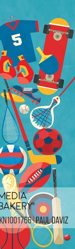Lots of different sports equipment