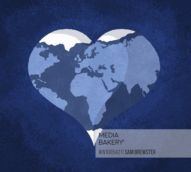Planet earth in heart shape