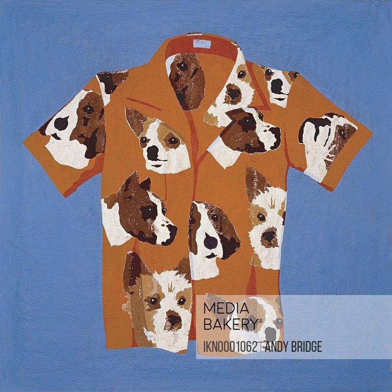 Leisure shirt with dog pattern
