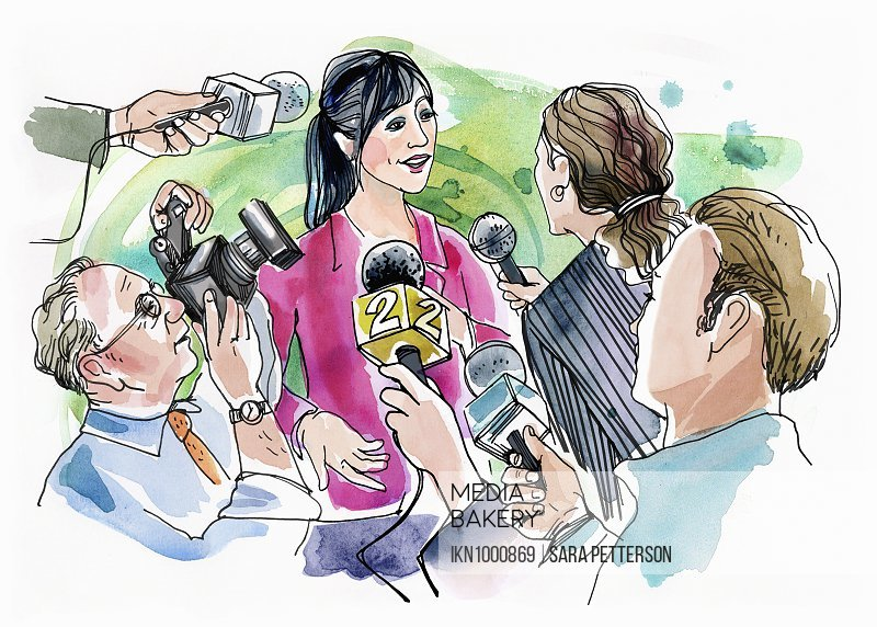 Woman giving an interview