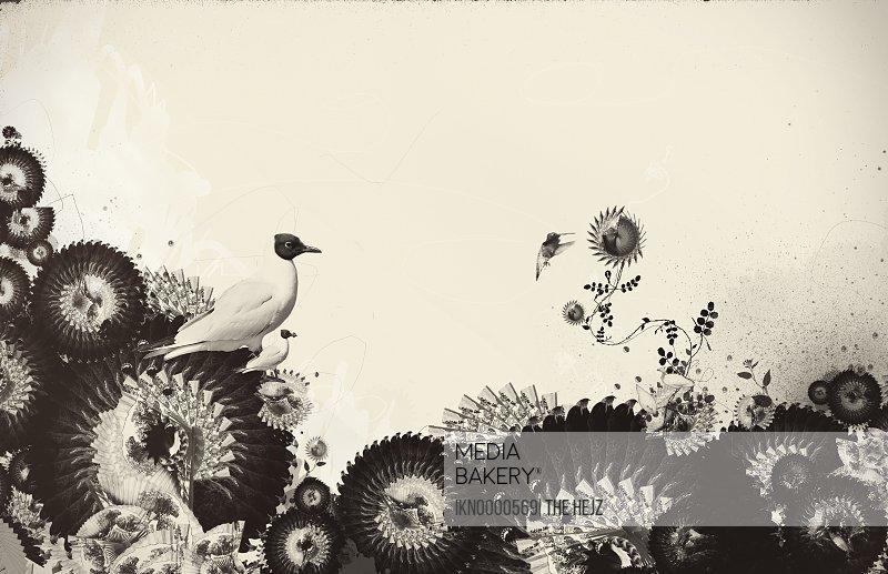 Bird and decorative flowers