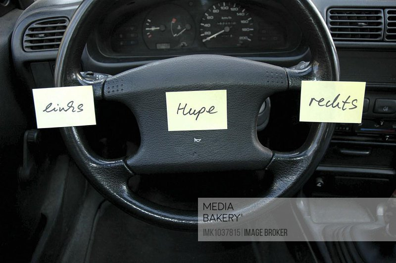 Nonsense, orientation, help, steering wheel with notes, Germany, Europe