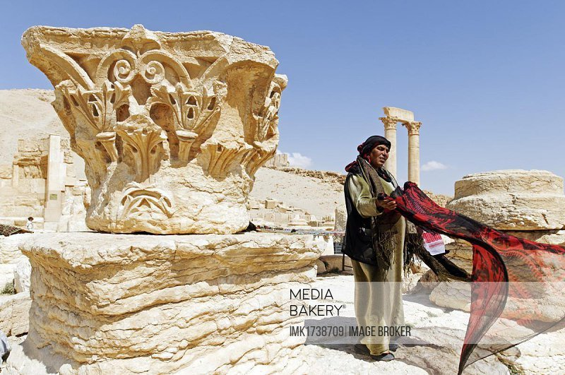 Sale of souvenirs, Palmyra excavation site, Tadmur, Syria, Asia