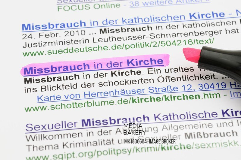 Sexual abuse in the Church, search results in German
