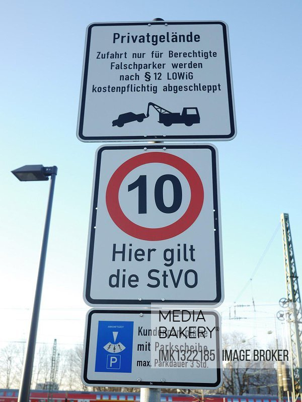 Signs at a parking-access, Freiburg, Baden-Wuerttemberg, Germany, Europe