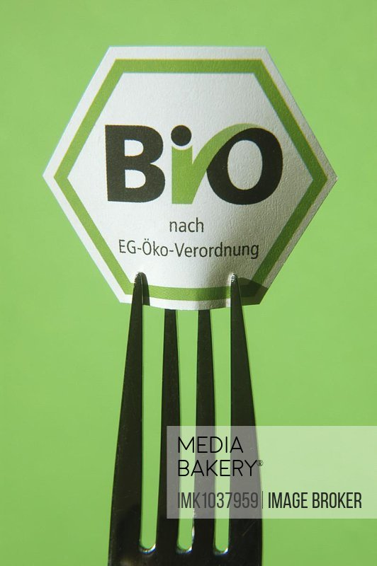Fork with organic seal, studio recording, symbol image for nutrition, health, trend
