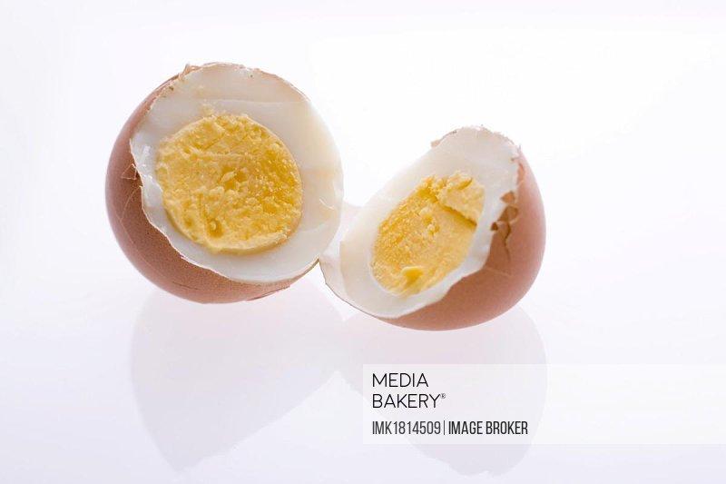 Hard-boiled egg, halves