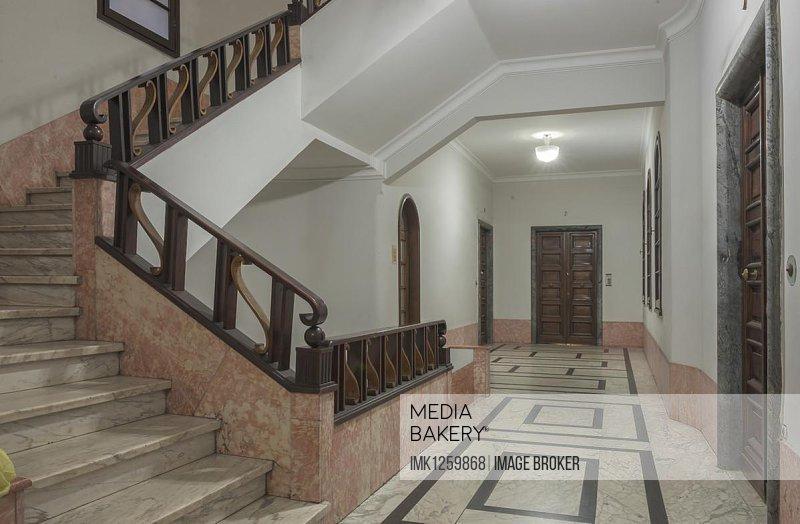 Hallway, interior design of the 30s, architecture in Italian fascism under Mussolini, Piazza della Vittoria, Genoa, Liguria, Italy, Europe