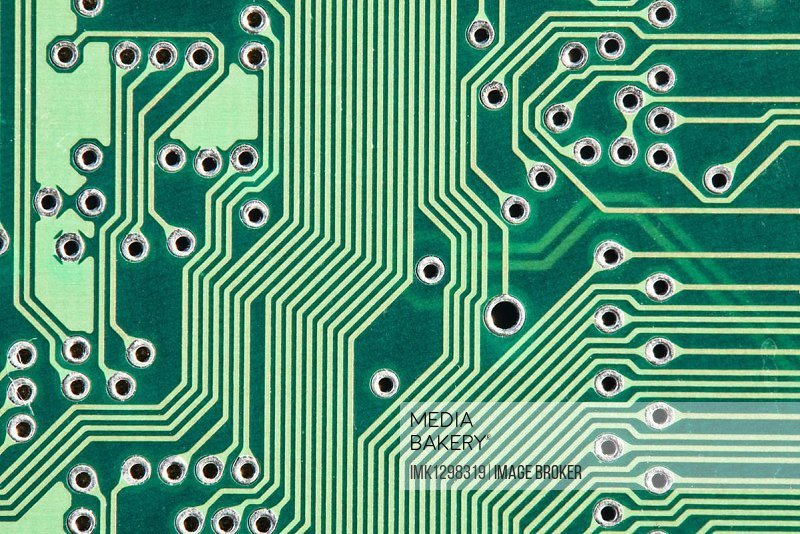 Green printed circuit board with conductor tracks