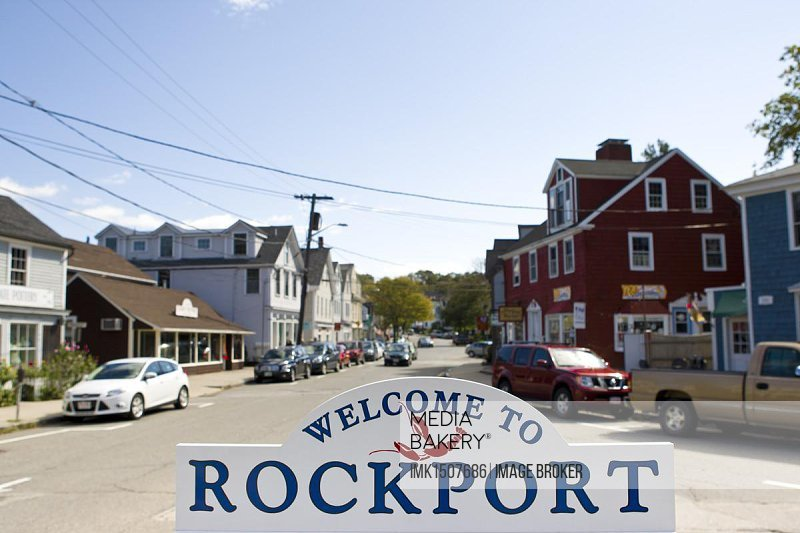 Welcome sign of the small fishing village of Rockport, Massachusetts, New England, USA, North America