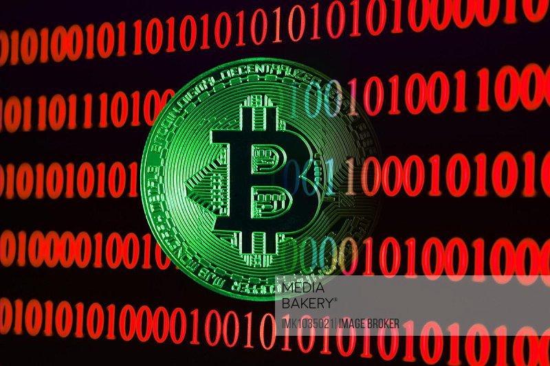 Bitcoin with binary code