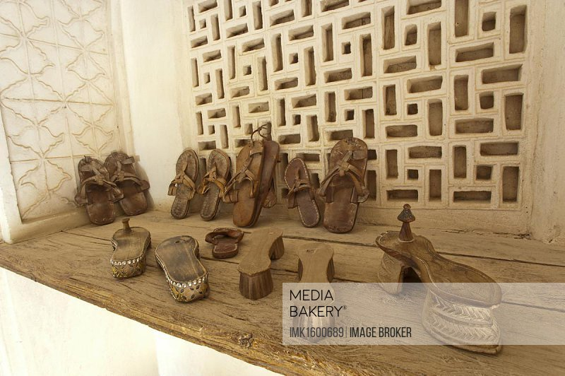 Historic Omani footwear, Jabrin Fort, Oman, Middle East, Asia