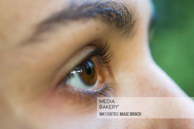 Closeup of woman's brown eyes, Germany, Europe