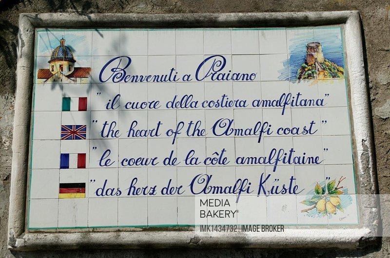 Welcome sign, Praiano, Amalfitan Coast, Campania, Italy, Europe