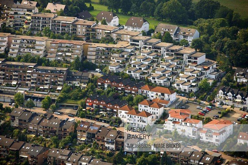 Aerial view, terraced houses, hillside, Schraberg, Herdecke, North Rhine-Westphalia, Germany, Europe