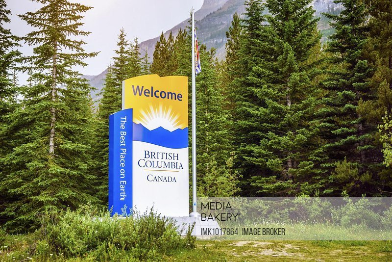 Welcome to British Columbia, welcoming sign at national border, Canada, North America