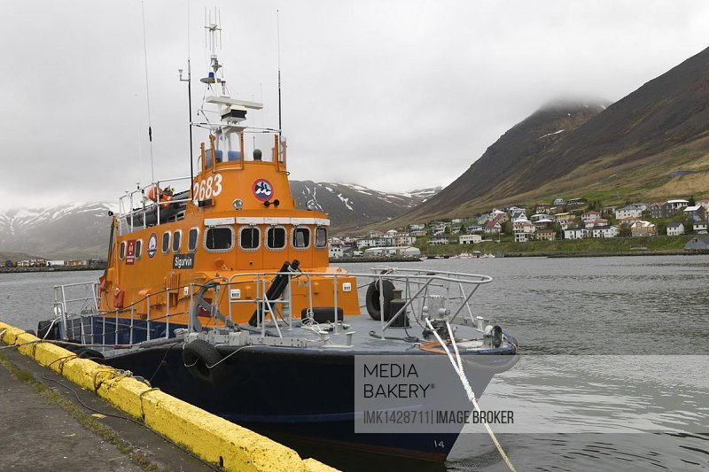 Rescue boat, Siglufjoerdur, Iceland, Northern Europe, Europe