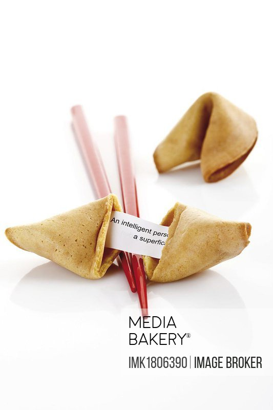 Fortune cookies with chopsticks