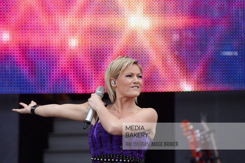Pop singer Helene Fischer performing on the Loreley open-air stage, St Goarshausen, Rhineland-Palatinate, Germany, Europe