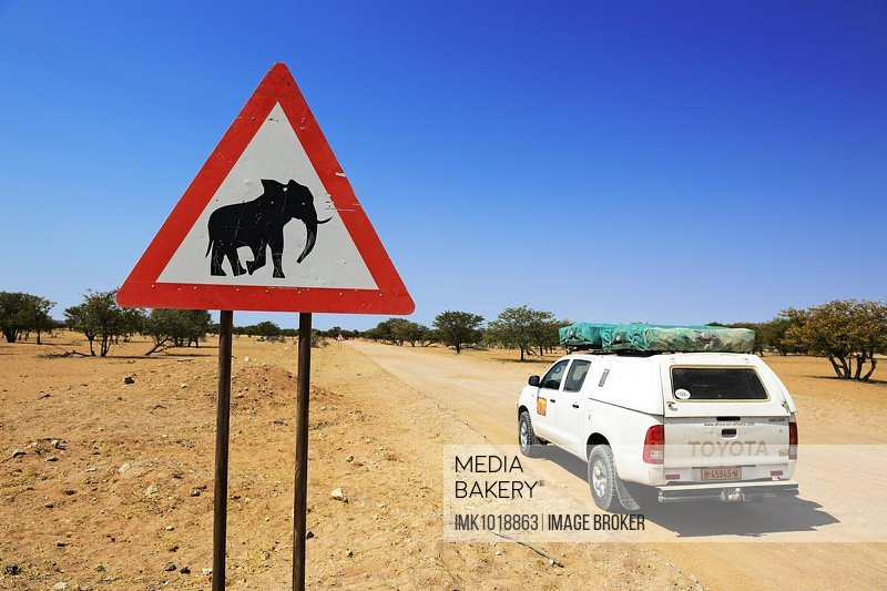 Attention elephant sign, Twyfelfontein, Damaraland, Namibia, Africa