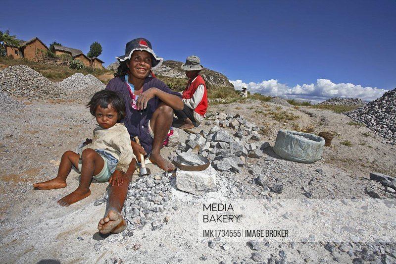 Child labor in a quarry, southern highlands, Madagascar, Africa