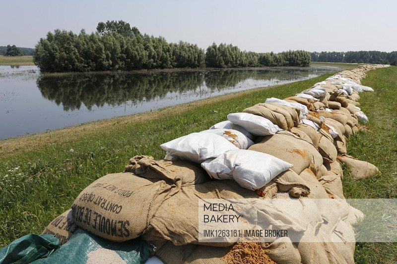 Sandbags protecting a dike along the Elbe against floods, Lutherstadt Wittenberg, Saxony-Anhalt, Germany, Europe