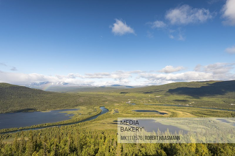 View of Kvikkjokk, river and mountains belonging to Tarraätno Sarek National Parks, Kvikkjokk, Laponia, Norrbotten, Lapland, Sweden, Europe