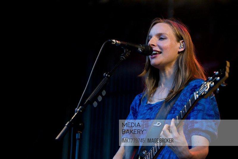 Judith Holofernes, singer of the German pop-rock band Wir sind Helden, live at the Heitere Open Air in Zofingen, Switzerland, Europe