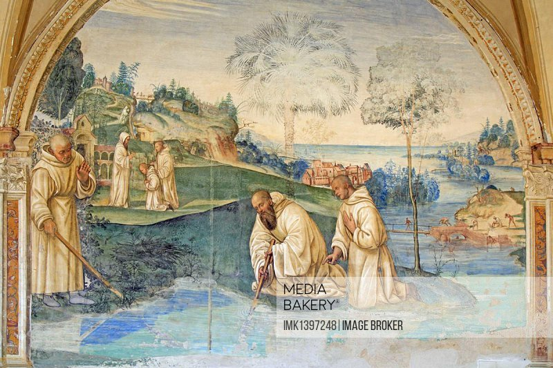 Fresco, life of St. Benedict, fresco by Sodoma, picture 15, Benedict guides the blade of a scythe, which had fallen into a pond, back to the shaft, cloister of Abbazia di Monte Oliveto Maggiore, monastery, Tuscany, Italy, Europe
