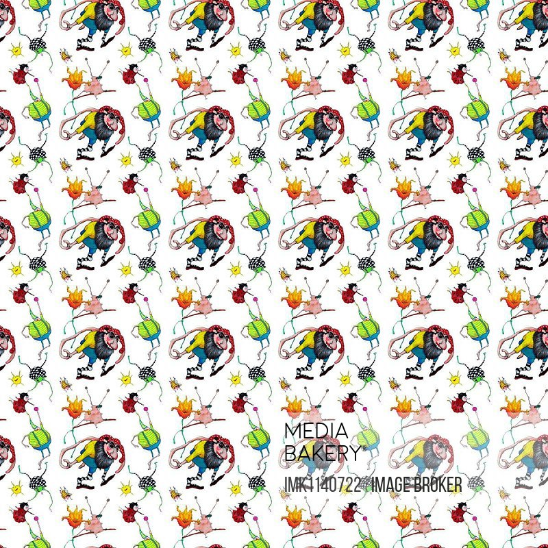 Wallpaper, wrapping paper, seamless pattern, with fantasy creatures, dwarves and beetles, Germany, Europe