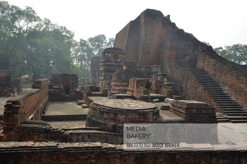Archaeological site and important Buddhist pilgrimage destination, ruins of the ancient University of Nalanda, Ragir, Bihar, India, Asia