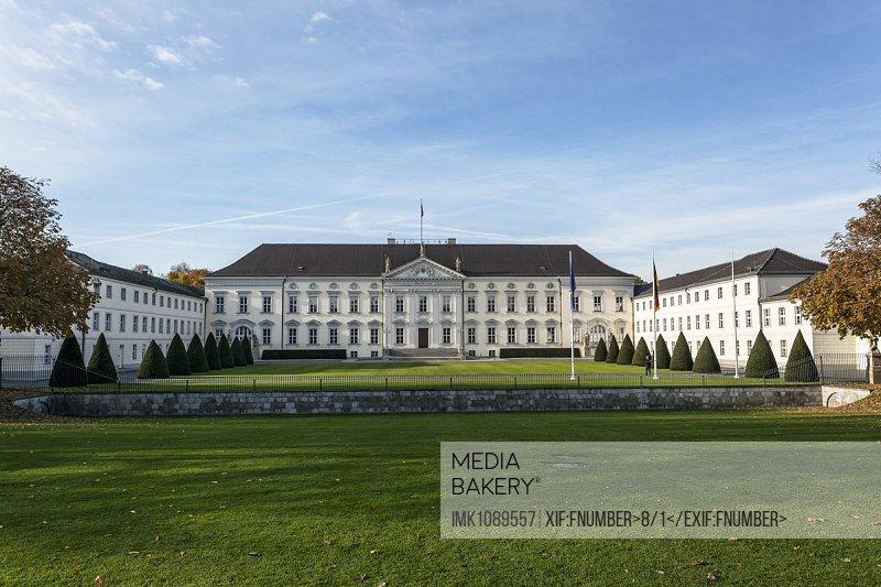 Schloss Bellevue,  Palace Bellevue,  residence of the German Federal President, Tiergarden Park, 1786 Architect Philipp Daniel Boumann, Berlin
