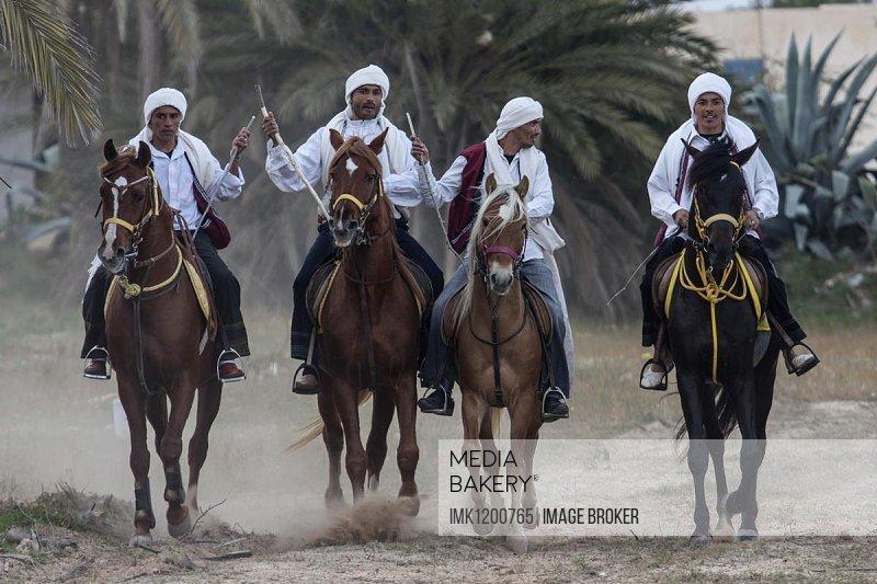 Equestrian games, Fantasia, Midoun, Djerba, Tunisia, Africa