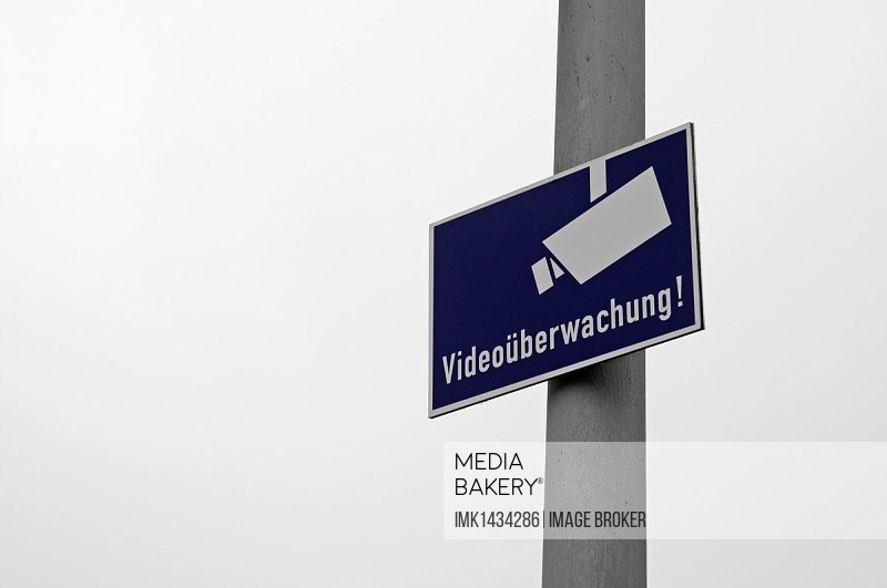 Sign, video surveillance, Germany, Europe, PublicGround, Europe